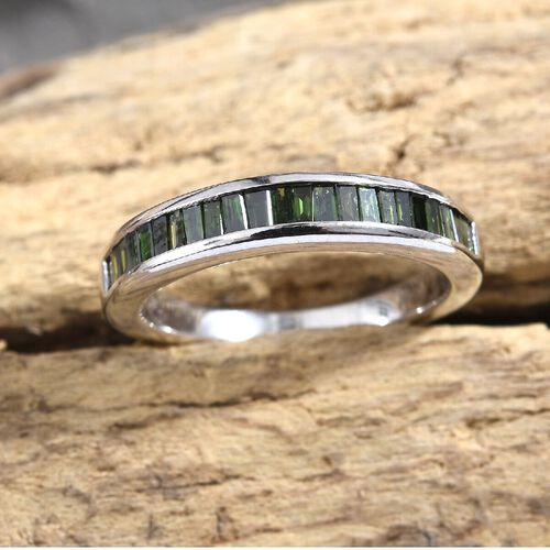0.50 Ct Green Diamond Half Eternity Band Ring in 9K White Gold 3.03 Grams