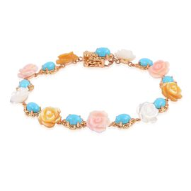 Designer Inspired - Arizona Sleeping Beauty Turquoise (Ovl), Pink, White and Yellow Mother of Pearl Flower Bracelet (Size 7.5) in Yellow Gold Overlay Sterling Silver 28.250 Ct.