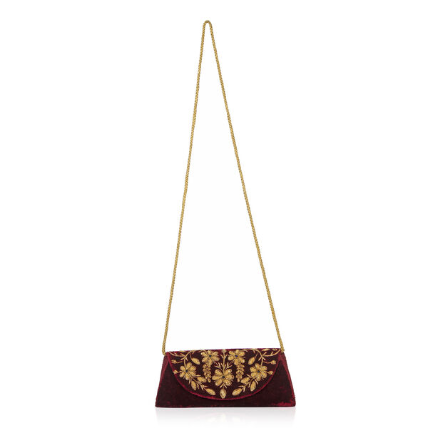 Peacock Sequence Hand Embroidered Velvet Clutch with Shoulder Strap (Size 25.4x12.7 Cm) - Maroon