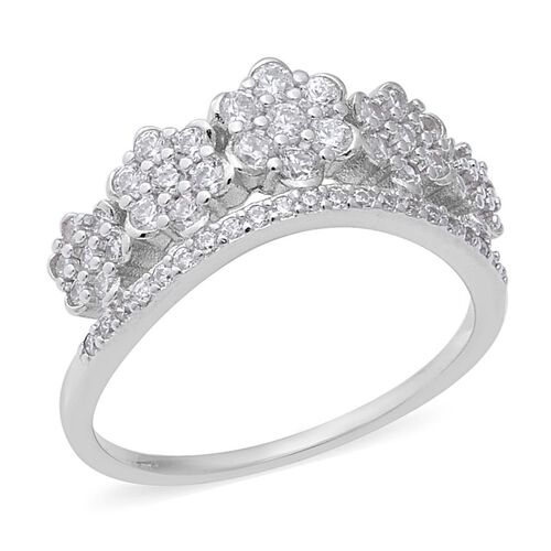 ELANZA Simulated Diamond Floral Cluster Ring in Rhodium Plated Sterling Silver 3.27 Grams