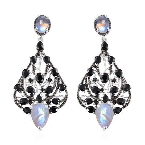 GP Rainbow Moonstone (Pear), Boi Ploi Black Spinel, Kanchanaburi Blue Sapphire Earrings (With Push B