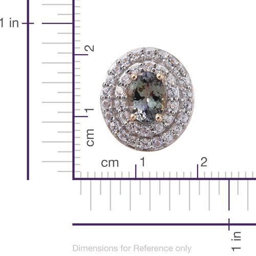 Sale Deal- 9K Yellow Gold AA Green Tanzanite (Ovl 1.50 Ct), White Sapphire Pendant 2.500 Ct.