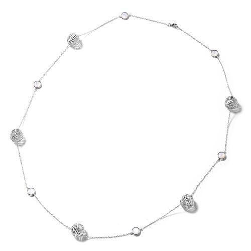 Isabella Liu - Sea Rhyme Collection - White Mother of Pearl (Rnd) Necklace (Size 33) in Rhodium Over