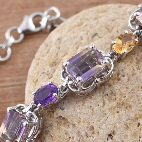 Anahi Ametrine (Oct), Amethyst and Citrine Bracelet (Size 7.5 with Extender) in Platinum Overlay Sterling Silver 11.900 Ct.