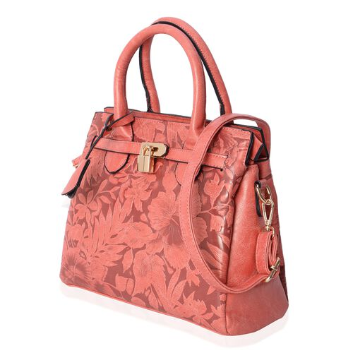 Close Out Deal Orange Flower Embossed Tote Bag with External Zipper Pocket and Removable Shoulder Strap (Size 29x24x10 Cm)