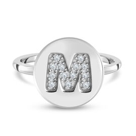 Diamond Initial-M Ring in Platinum Overlay Sterling Silver