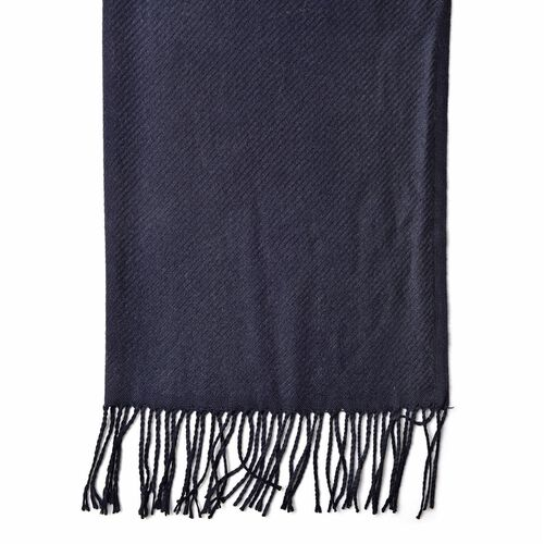 Italian Designer Black Colour Stripes Pattern Scarf with Tassels (Size 180x65 Cm)