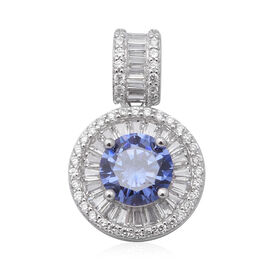 ELANZA Simulated Tanzanite and Simulated Diamond Pendant in Rhodium Overlay Sterling Silver