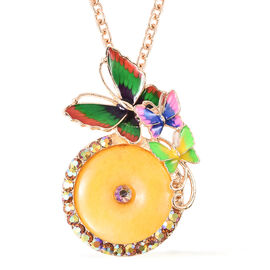 Yellow Quartzite and Champagne Magic Colour Austrian Crystal Enamelled Butterfly Pendant with Chain