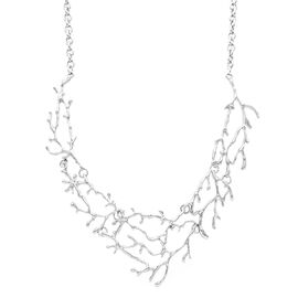 Designer Necklace (Size 20 with 2.5 inch Extender) in Silver Tone