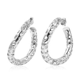 RACHEL GALLEY Rhodium Overlay Sterling Silver Hoop Earrings (with Push Back), Silver wt 12.64 Gms.