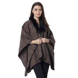 Black Brown and Red Colour Plaid Cape with Faux Fur Collar (Size 120x140 Cm)