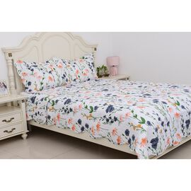 3 Piece Set - Multi Colour Floral Pattern King Size Summer Quilt and 2 Pillow Cases (Size 2x50x70+5