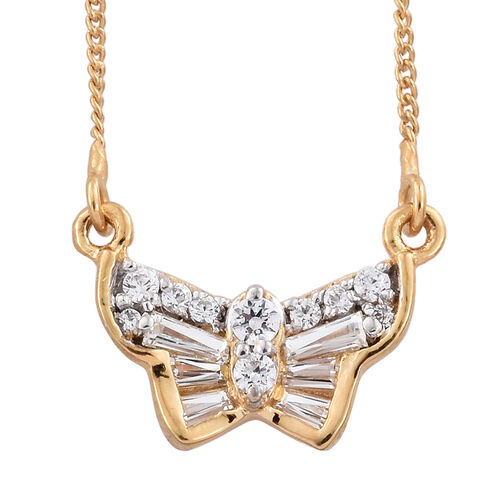J Francis - 14K Gold Overlay Sterling Silver (Rnd) Butterfly Necklace (Size 18) Made with SWAROVSKI ZIRCONIA