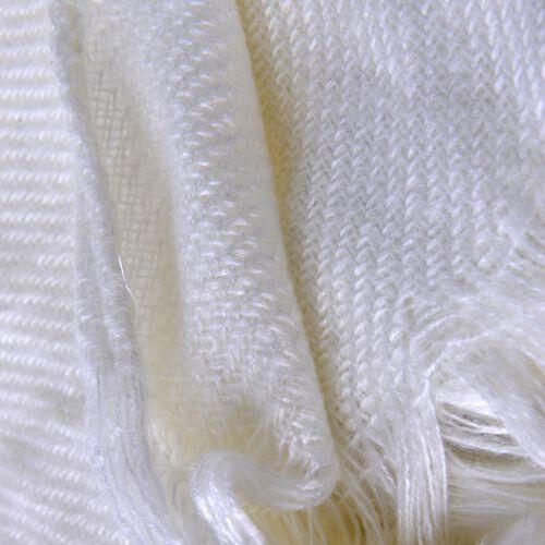 Cream Colour Plaid-Shawl with Pom Pom (Size 160x130 Cm)
