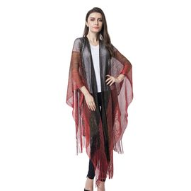 Black and Red Colour Strip Pattern Kimono with Tassels (Size 91.5x83.8+15.2 Cm)
