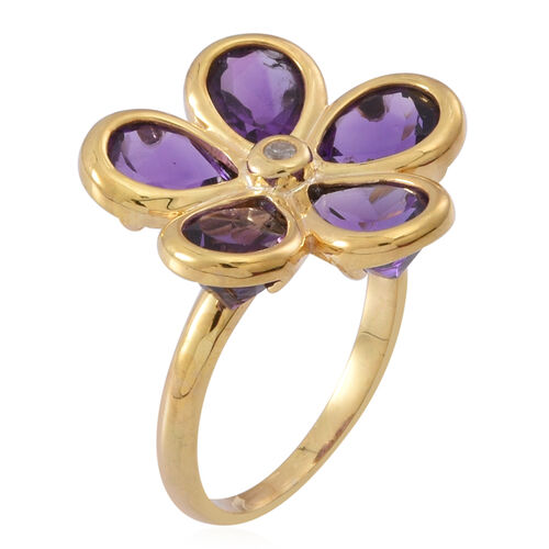 Natural Uruguay Amethyst (Pear), Natural White Cambodian Zircon Floral Ring in 14K Y Gold Overlay Sterling Silver 6.500 Ct.