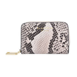 SENCILLEZ Genuine Leather RFID Protected Snake Print Card Holder with Zipper Closure (Size 11x7x2.5