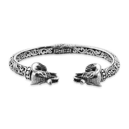 Royal Bali Collection Sterling Silver Elephant Head Cuff Bangle (Size 7.25), Silver wt 23.75 Gms.