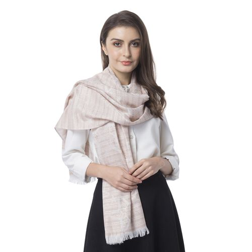 Light Pink and Multi Colour Star Pettern Scarf (Size 180x68 Cm)