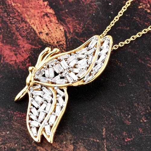 Diamond (Bgt) Butterfly Pendant with Chain (Size 18) in 14K Gold Overlay Sterling Silver 0.500 Ct.