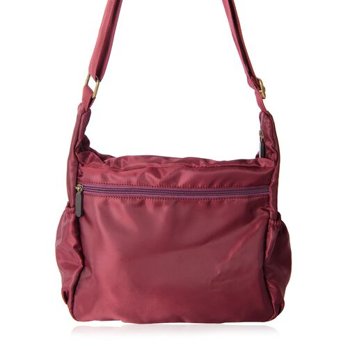Annabelle Water Resistant Burgundy Multi Pocket Cross Body Bag (Size 26x26x10.5 Cm)