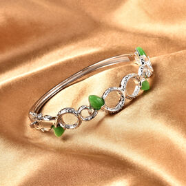 Rachel Galley Venom (Snakes) Collection - Green Jade Bangle (Size 7.5) in Rhodium Overlay Sterling Silver 6.73 ct,  Silver Wt. 22.00 Gms