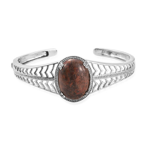 Poppy Jasper (Ovl 25x18 mm) Bangle (Size 7.5) in Stainless Steel  22.000 Ct.
