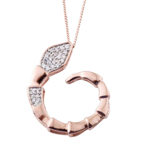 J Francis - Rose Gold Overlay Sterling Silver (Rnd) Snake Pendant With Chain Made with SWAROVSKI ZIRCONIA