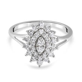 J Francis Platinum Overlay Sterling Silver Cluster Ring Made with SWAROVSKI ZIRCONIA 1.01 Ct.