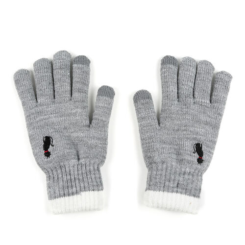 Ladies Warm Gloves with Embroidered Cat (One Size) - Light Grey