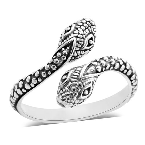 Royal Bali Snake Bypass Ring in Sterling Silver