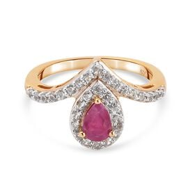 African Ruby, Zircon Fancy Ring in 14K Gold Overlay Sterling Silver 0.83 ct  0.825  Ct.
