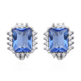 ELANZA Simulated Tanzanite (Oct), Simulated Diamond Stud Earrings in Rhodium Overlay Sterling Silver