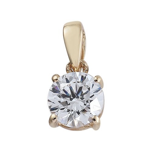 J Francis 9K Yellow Gold (Rnd) Pendant Made With Swarovski Zirconia (6 mm)