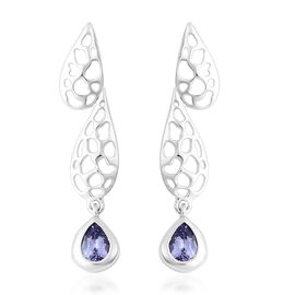 RACHEL GALLEY Tanzanite Lattice Dangle Earrings in Rhodium Overlay Sterling Silver 1.38 Ct.