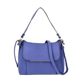 SENCILLEZ Shungite Zipper Closure Satchel Bag with Detachable Shoulder Strap (Size 30x12x22 Cm) - Bl