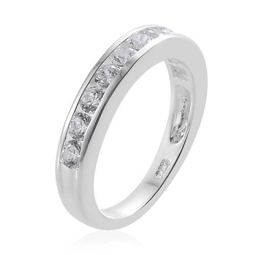 J Francis - Sterling Silver (Rnd) Half Eternity Band Ring Made With SWAROVSKI ZIRCONIA