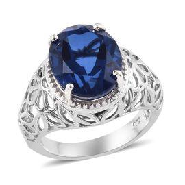 5.25 Ct Minas Gerais Twilight Quartz Solitaire Ring in Platinum Plated Silver