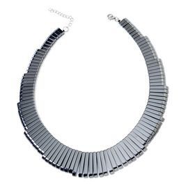 Hematite Bars Gradual Necklace (Size 17 and 2 inch Extender) in Stainless Steel