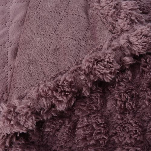 TJC Season Launch  - Supersoft Fine Micro- Dusky Pink Colour Mink Blanket with Matching Colour Sherpa BACKING and Ultrasonic Quilting in Colour  (Double Bed - 150x200 Cm)