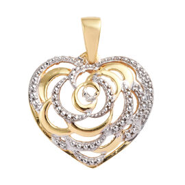 Diamond (Rnd) Heart Pendant in Yellow Gold Overlay Sterling Silver