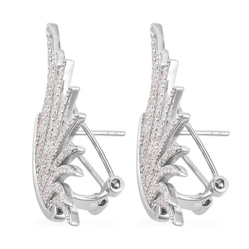 ELANZA Simulated Diamond (Rnd) Angel Wings Earrings in Rhodium Overlay Sterling Silver, Silver wt 6.00 Gms