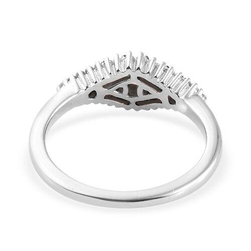 Diamond (Rnd) Rhombus Ring in Platinum Overlay Sterling Silver 0.330 Ct.