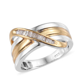 Diamond Crossover Ring in Gold and Platinum Plated Sterling Silver 4.75 Grams