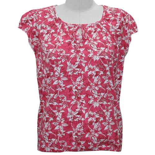 Auburn 100% Cotton Pink Printed Top with Short Ruffle Cap Sleeves (Size M 14-16)