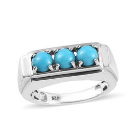 Arizona Sleeping Beauty Turquoise (Rnd) Three Stone Ring in Platinum Overlay Sterling Silver 1.50 Ct