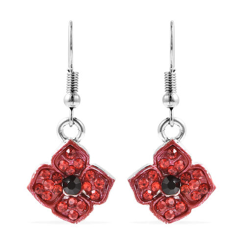 TJC Poppy Design - Black and Red Austrian Crystal Enamelled Poppy Hook Earrings in Silver Tone