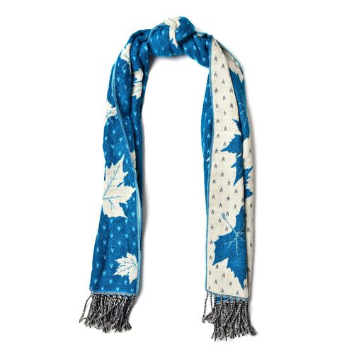 Blue with White Colour Maple Leaf Pattern Scarf with Long Tassels (Size 170x65 Cm)