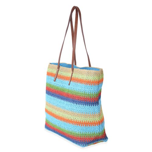 St. Tropez Collection- Turquoise and Rainbow Colour Stripe Pattern Straw Tote Beach Bag (Size 47x37x34x15.5 Cm)
